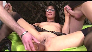 Anal Fisting and DP for Mom in Glasses and Pumps