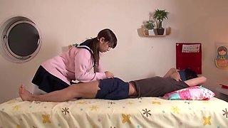 Japanese schoolgirl mina yoshii tying a guy up and tempting