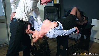 Marie Clarence ravished by a hunk during an office fuck