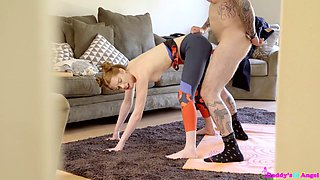 Pretty brunette Pepper Hart does yoga in front of her sex-starved step daddy