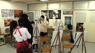 Adorable Japanese schoolgirls satisfy their desire for cock