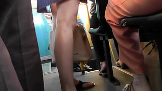 Attractive babe in tight panties upskirt in a public place