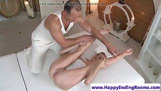 Flexible massage babe tugs before doggystyle