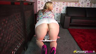Chick with plump ass Aston Wilde takes off her panties and shows off off pussy upskirt