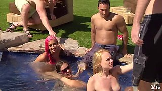 Group of nasty swingers oral sex by the pool