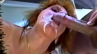 Voracious redhead bronze skin milf loves huge load of tasty cum