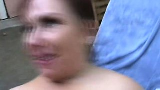 Buxom redhead housewife with a marvelous ass goes wild for a big stick