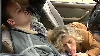 Beautiful and young German blonde girl wants to suck dick in the car