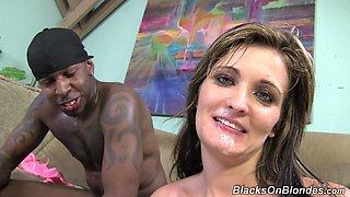 Rough interracial sex leaves Lia Lynn Robinson with a facial