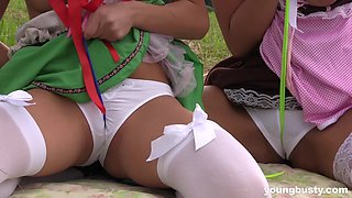 Nikki Dream having sex with two lesbian cuties on the grass
