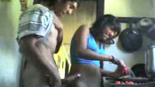 Horn-mad Indian wifey gets her twat pounded from behind in kitchen