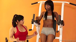 sarah banks and mia li hook up in a gym for a lesbian fuck