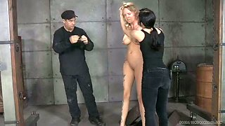 Big tittied blonde and red haired chick in the metal cage are punished hard