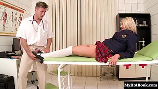 Foxy blonde sweetie Lucy gets pounded by her hung doctor