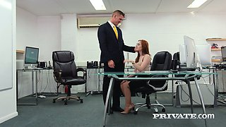 Attractive English office nympho Ella Hughes gets her slit licked
