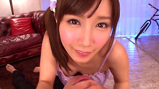 Minami Kojima covered in semen after riding a lucky man's prick