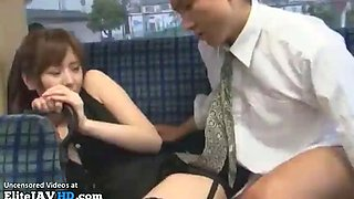 Japanese busty secretary fucks stranger on bus