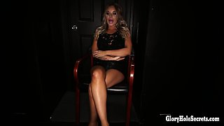 Wild blonde loves slurping and gagging on cocks in gloryhole