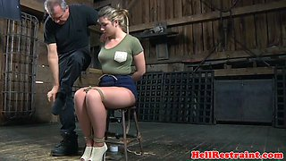 Breast bonded restrained sub gets ass caned