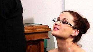 Ginger secretary sucks before facial cumshot