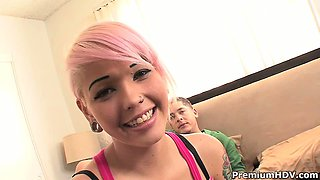 Young emo chick Christina fucking first time on cam and