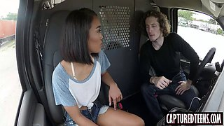 slim thai teen aria skye drilled in the van by big hard stud