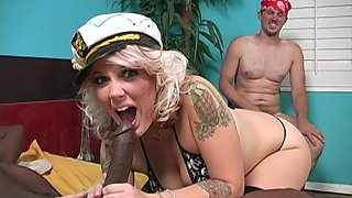 Cumlicker Candy Monroe enjoying a black cock while being watched