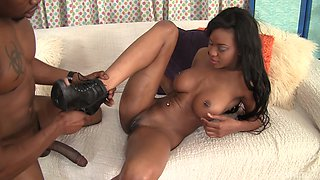 Ebony babe Nadia Jay finally gets to play with a long black dick