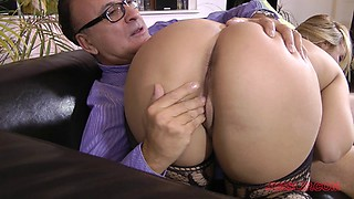 Horny babe in nylon pantyhose drilled doggystyle to intense orgasm