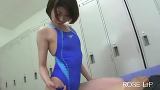 Japanese girl 60 swimsuit pee