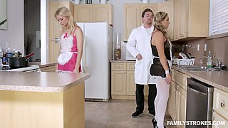 Horn-mad curvy maid Anastasia Knight is actually ready to share dick for BJ