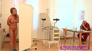 Brunette sweetie assfucked by a doctor