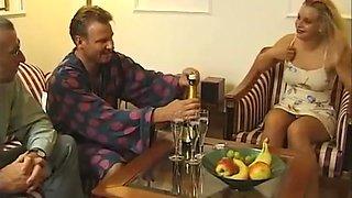 Hot Brunette gets a taste of older men at a swingers party