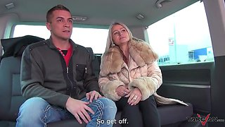 Saggy tits blonde fat bitch gets fucked in the car