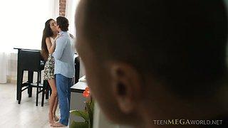 Cute brunette bimbo Katty West involved in hot MMF threesome