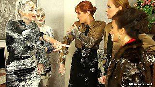 Angry boss punishes every one in the office applying cream on them,what a messy scene