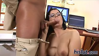 bespectacled office babe has her holes drilled