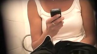 Toilet spy with downblouse