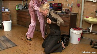 Two slutty clothed lesbians get messy and fondle each other