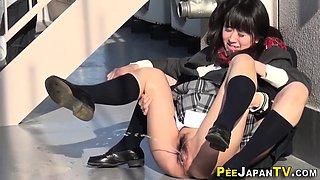 Japan students peeing