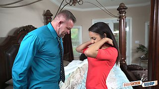 Happy grey haired older man finally lures charming Layla London for hot fuck