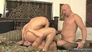 Roxanne Hall gets drilled hard by  John Magnum and Tom Moore