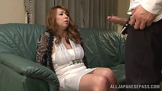 Flirtatious Japanese cougar with big tits  gets a wild dick ride