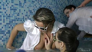 impressive brunette babes in glasses screaming as they get ravished doggystyle in group sex
