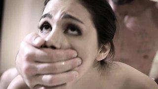 Busty maid teen hard banged by an aggressive rich man