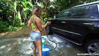 sexy blonde with big tits marsha may got all wet washing the car