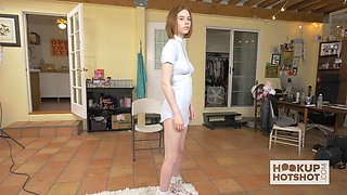 Small hot teen goes to a casting and photoshoot