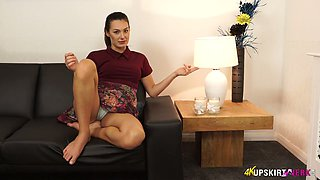Lubricious housewife Laura performs her nice panties upskirt