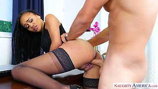 Delicious black sweetie Julie Kay sucks her boss off in the office