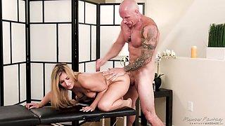 Bald headed stud fucks sex-hungry blonde Moka Mora